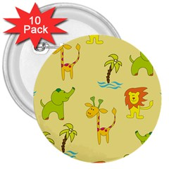 Cute Animals Elephant Giraffe Lion 3  Buttons (10 Pack)  by Mariart