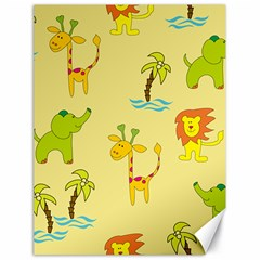 Cute Animals Elephant Giraffe Lion Canvas 18  X 24   by Mariart