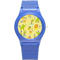 Cute Animals Elephant Giraffe Lion Round Plastic Sport Watch (s) by Mariart