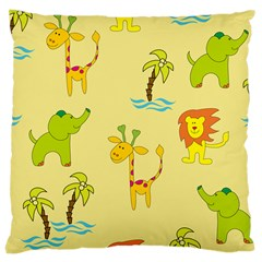 Cute Animals Elephant Giraffe Lion Large Cushion Case (one Side) by Mariart