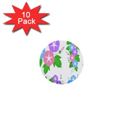 Flower Floral Star Purple Pink Blue Leaf 1  Mini Buttons (10 Pack)  by Mariart