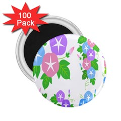 Flower Floral Star Purple Pink Blue Leaf 2 25  Magnets (100 Pack)  by Mariart