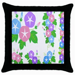 Flower Floral Star Purple Pink Blue Leaf Throw Pillow Case (black) by Mariart