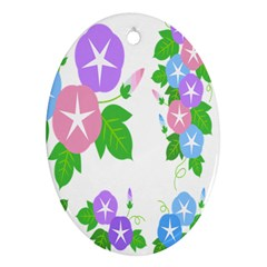 Flower Floral Star Purple Pink Blue Leaf Oval Ornament (two Sides) by Mariart