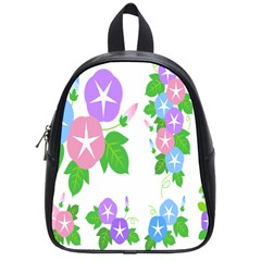 Flower Floral Star Purple Pink Blue Leaf School Bags (small)  by Mariart