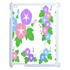 Flower Floral Star Purple Pink Blue Leaf Apple Ipad 2 Case (white) by Mariart