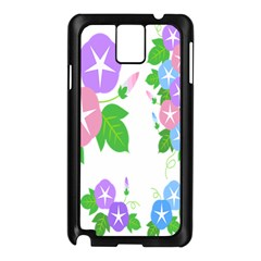 Flower Floral Star Purple Pink Blue Leaf Samsung Galaxy Note 3 N9005 Case (black) by Mariart