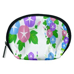 Flower Floral Star Purple Pink Blue Leaf Accessory Pouches (medium)  by Mariart