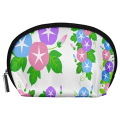 Flower Floral Star Purple Pink Blue Leaf Accessory Pouches (large)  by Mariart
