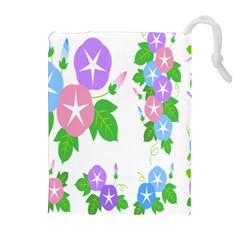 Flower Floral Star Purple Pink Blue Leaf Drawstring Pouches (extra Large) by Mariart