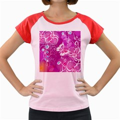 Flower Butterfly Pink Women s Cap Sleeve T Shirt