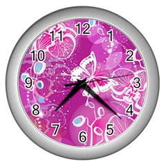 Flower Butterfly Pink Wall Clocks (silver)  by Mariart