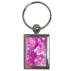 Flower Butterfly Pink Key Chains (rectangle)  by Mariart