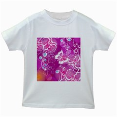 Flower Butterfly Pink Kids White T Shirts by Mariart