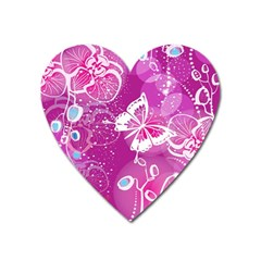 Flower Butterfly Pink Heart Magnet by Mariart
