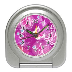 Flower Butterfly Pink Travel Alarm Clocks by Mariart