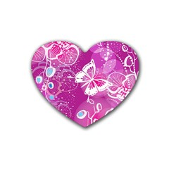 Flower Butterfly Pink Rubber Coaster (heart)  by Mariart
