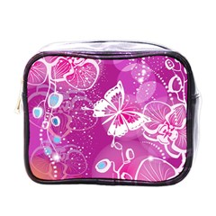 Flower Butterfly Pink Mini Toiletries Bags by Mariart