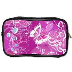 Flower Butterfly Pink Toiletries Bags by Mariart