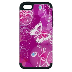 Flower Butterfly Pink Apple Iphone 5 Hardshell Case (pc+silicone) by Mariart