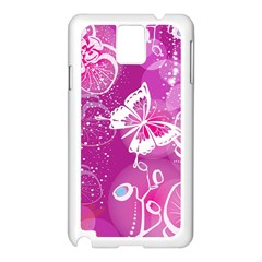 Flower Butterfly Pink Samsung Galaxy Note 3 N9005 Case (white) by Mariart