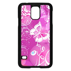 Flower Butterfly Pink Samsung Galaxy S5 Case (black) by Mariart