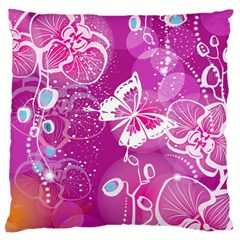 Flower Butterfly Pink Large Flano Cushion Case (one Side) by Mariart