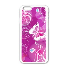 Flower Butterfly Pink Apple Iphone 6/6s White Enamel Case by Mariart