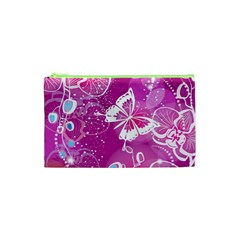 Flower Butterfly Pink Cosmetic Bag (xs) by Mariart