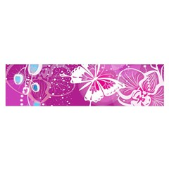 Flower Butterfly Pink Satin Scarf (oblong) by Mariart
