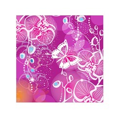 Flower Butterfly Pink Small Satin Scarf (square) by Mariart