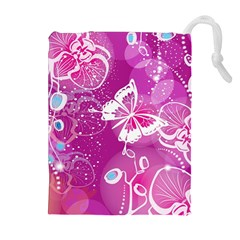Flower Butterfly Pink Drawstring Pouches (extra Large) by Mariart