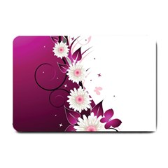 Flower Purple Sunflower Star Butterfly Small Doormat  by Mariart
