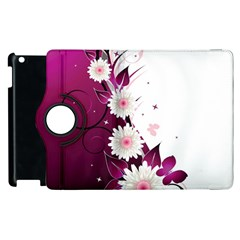 Flower Purple Sunflower Star Butterfly Apple Ipad 2 Flip 360 Case by Mariart