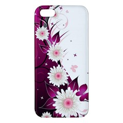 Flower Purple Sunflower Star Butterfly Apple Iphone 5 Premium Hardshell Case by Mariart