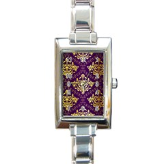 Flower Purplle Gold Rectangle Italian Charm Watch by Mariart