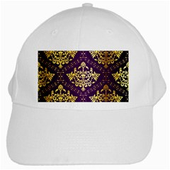 Flower Purplle Gold White Cap by Mariart