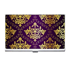 Flower Purplle Gold Business Card Holders by Mariart