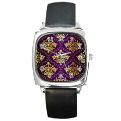 Flower Purplle Gold Square Metal Watch by Mariart