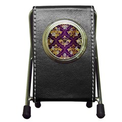 Flower Purplle Gold Pen Holder Desk Clocks by Mariart