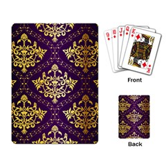 Flower Purplle Gold Playing Card by Mariart