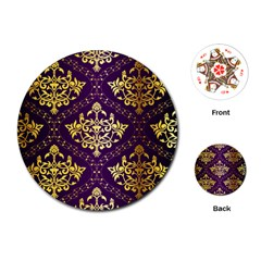 Flower Purplle Gold Playing Cards (round)  by Mariart