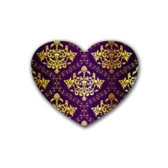 Flower Purplle Gold Heart Coaster (4 Pack)  by Mariart