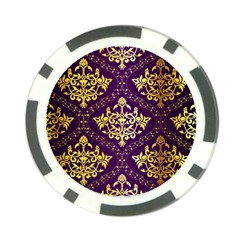 Flower Purplle Gold Poker Chip Card Guard by Mariart