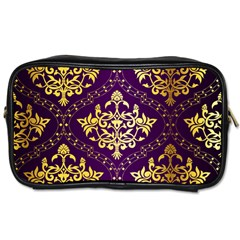 Flower Purplle Gold Toiletries Bags 2 Side by Mariart
