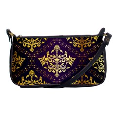 Flower Purplle Gold Shoulder Clutch Bags by Mariart