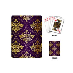 Flower Purplle Gold Playing Cards (mini)  by Mariart
