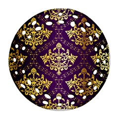 Flower Purplle Gold Ornament (round Filigree) by Mariart