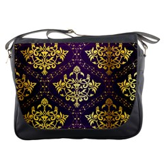 Flower Purplle Gold Messenger Bags by Mariart