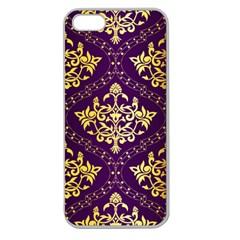 Flower Purplle Gold Apple Seamless Iphone 5 Case (clear) by Mariart